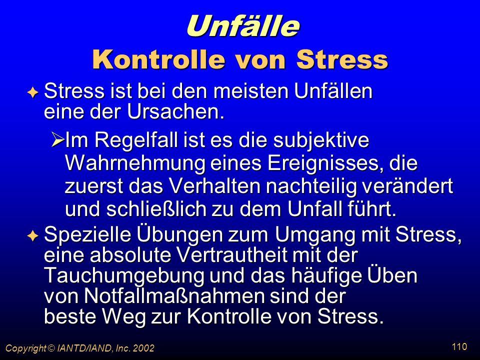 Unfälle Kontrolle von Stress