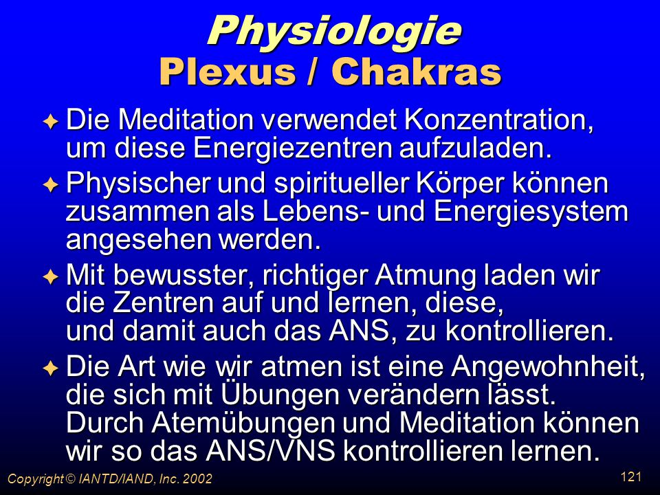 Physiologie Plexus / Chakras
