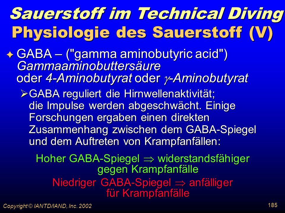 Physiologie des Sauerstoff (V)