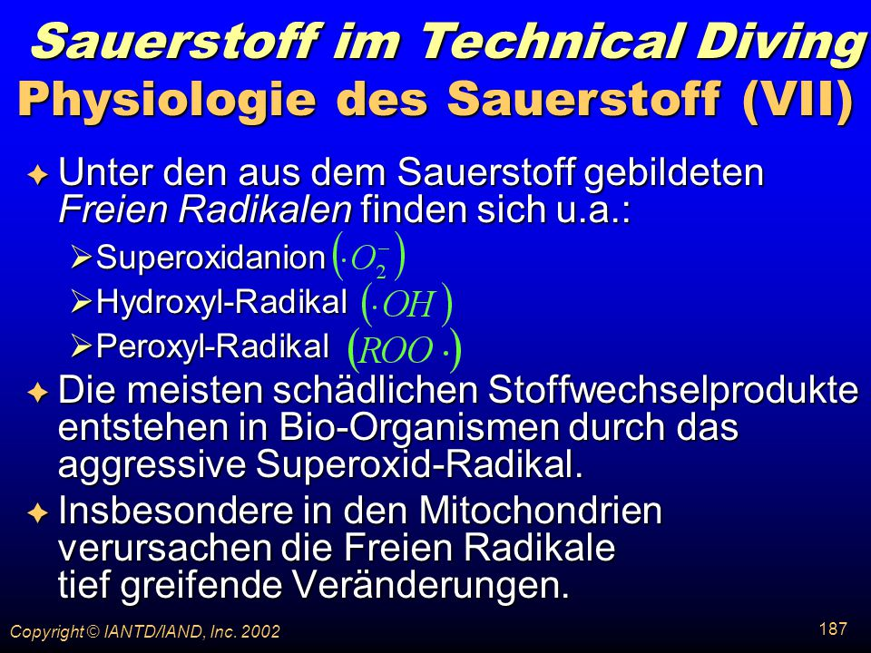Physiologie des Sauerstoff (VII)