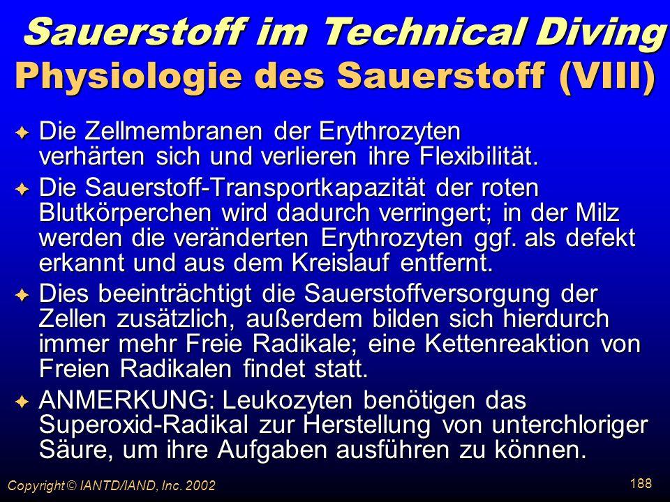 Physiologie des Sauerstoff (VIII)