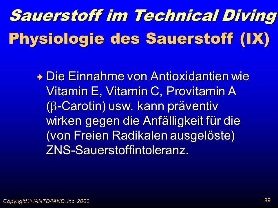 Physiologie des Sauerstoff (IX)