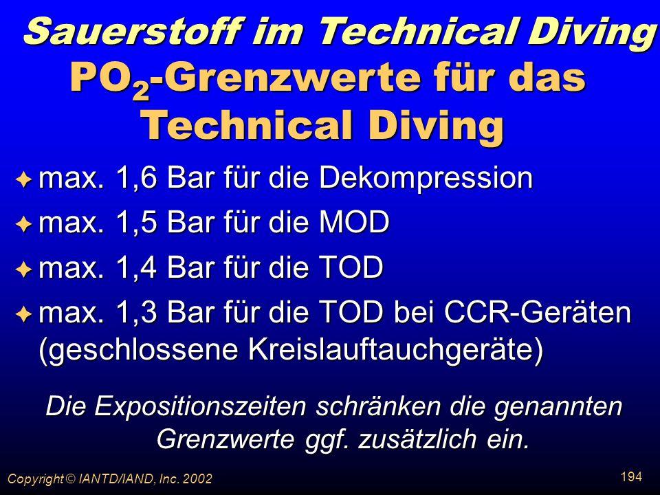 PO2-Grenzwerte für das Technical Diving