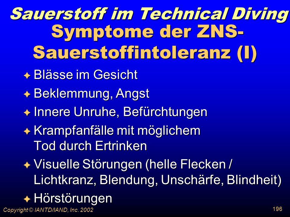 Symptome der ZNS-Sauerstoffintoleranz (I)