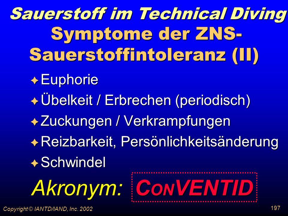 Symptome der ZNS-Sauerstoffintoleranz (II)