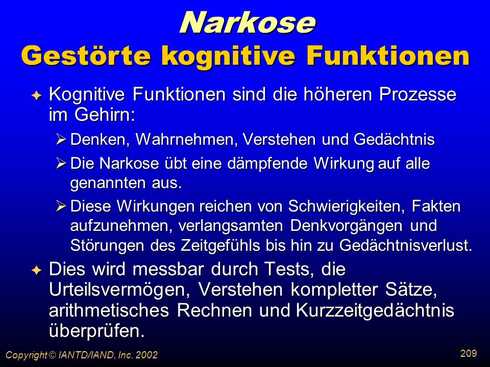 Gestörte kognitive Funktionen
