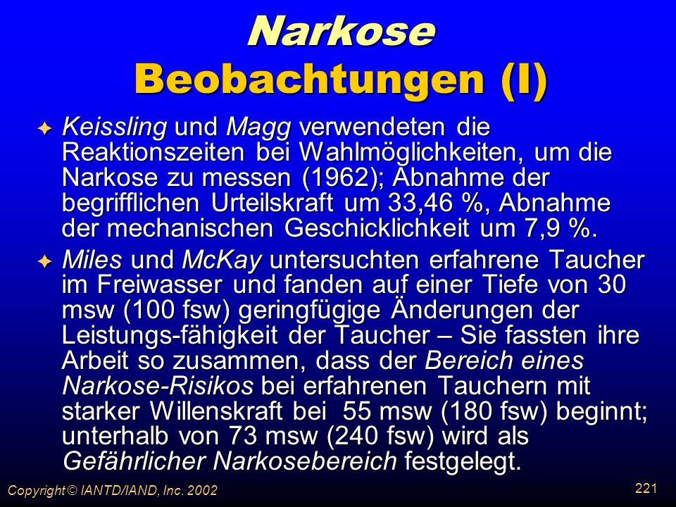 Narkose Beobachtungen (I)