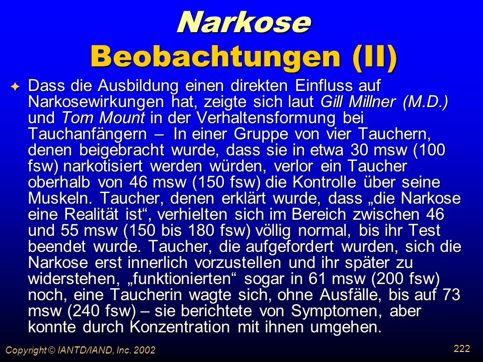 Narkose Beobachtungen (II)