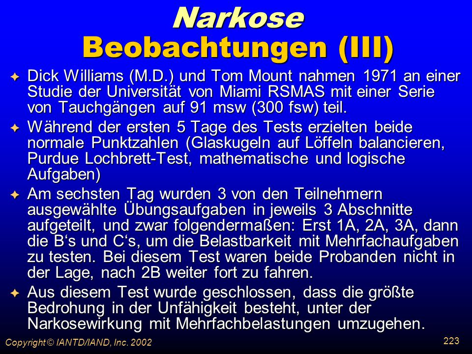 Narkose Beobachtungen (III)
