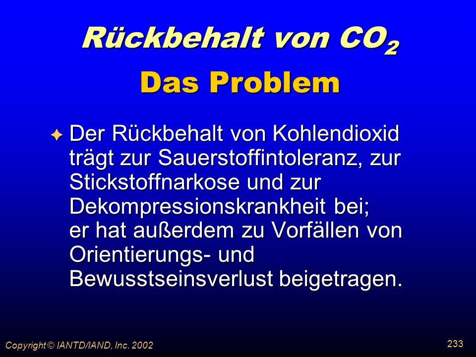 Rückbehalt von CO2 Das Problem