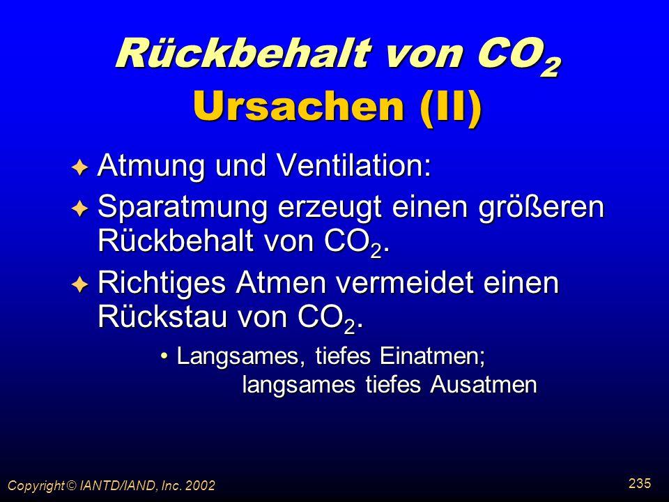 Rückbehalt von CO2 Ursachen (II) Atmung und Ventilation: