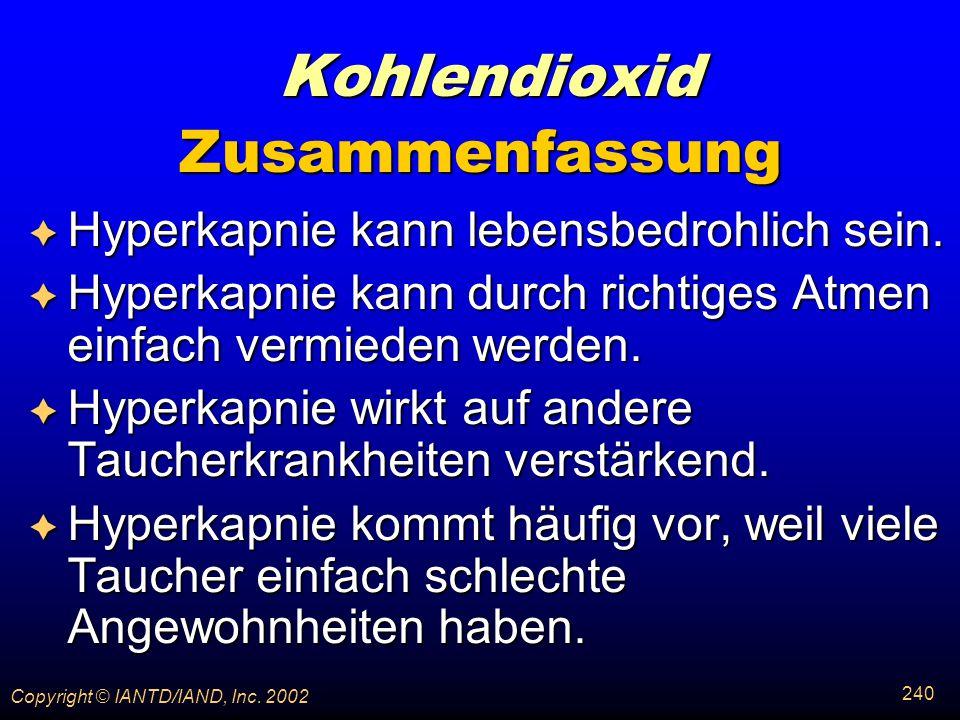 Kohlendioxid Zusammenfassung Hyperkapnie kann lebensbedrohlich sein.