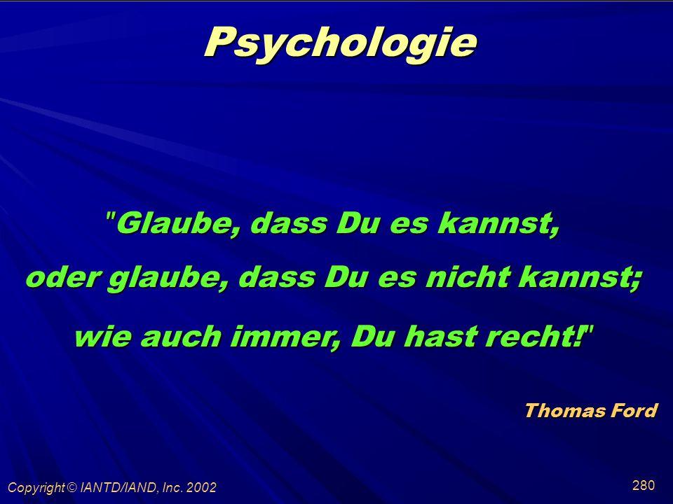 Psychologie Glaube, dass Du es kannst,