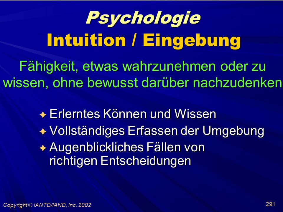 Psychologie Intuition / Eingebung
