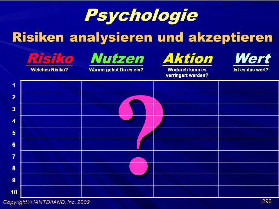 Psychologie Risiken analysieren und akzeptieren