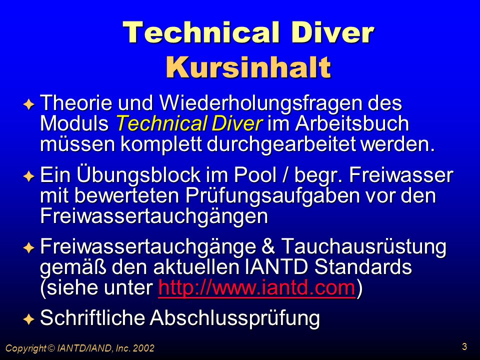 Technical Diver Kursinhalt