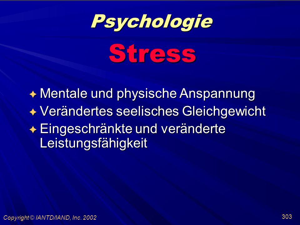 Psychologie Stress Mentale und physische Anspannung