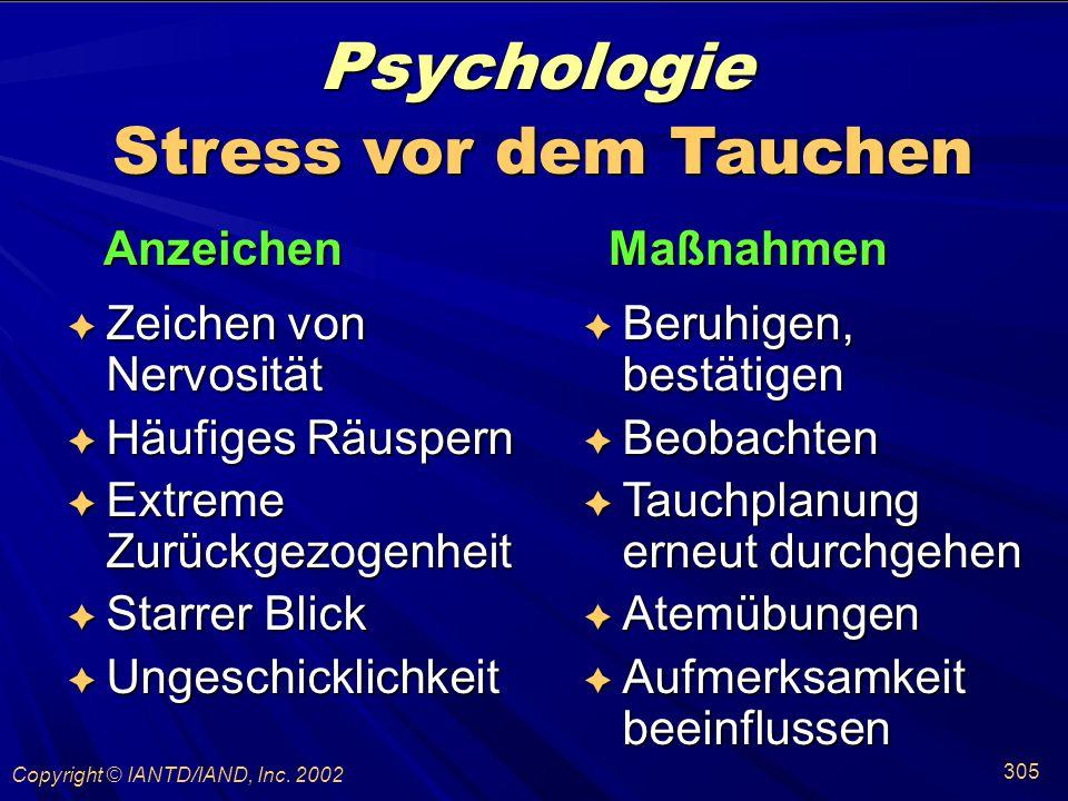 Psychologie Stress vor dem Tauchen Anzeichen Maßnahmen