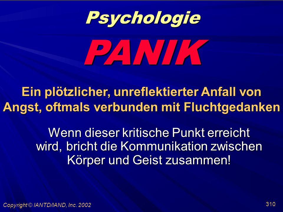 Psychologie PANIK. Ein plötzlicher, unreflektierter Anfall von Angst, oftmals verbunden mit Fluchtgedanken.