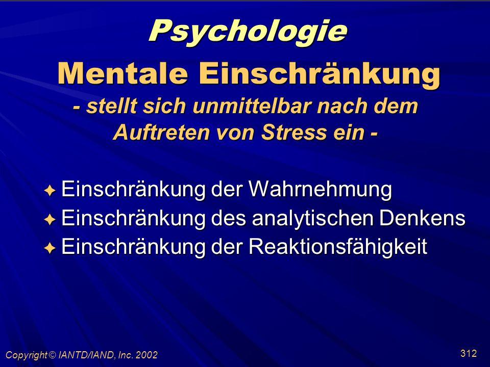 Psychologie Mentale Einschränkung - stellt sich unmittelbar nach dem
