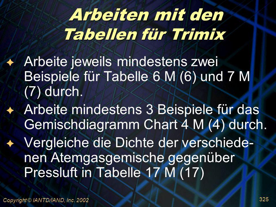 Arbeiten mit den Tabellen für Trimix