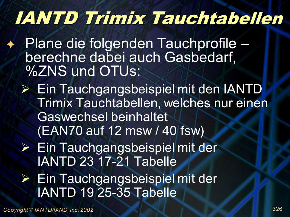 IANTD Trimix Tauchtabellen