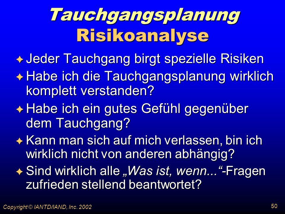 Tauchgangsplanung Risikoanalyse