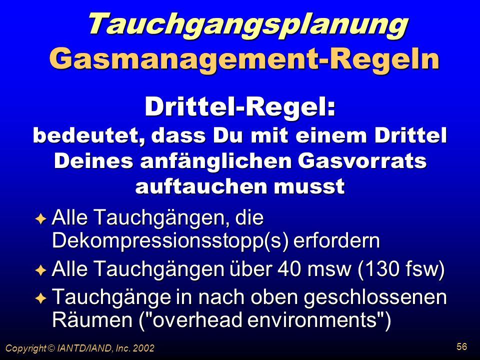 Tauchgangsplanung Gasmanagement-Regeln