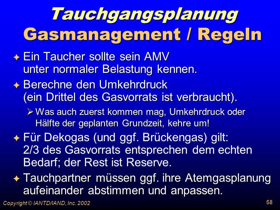 Tauchgangsplanung Gasmanagement / Regeln
