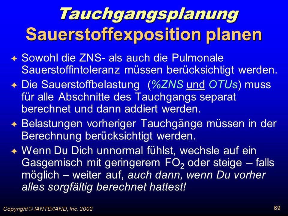Sauerstoffexposition planen