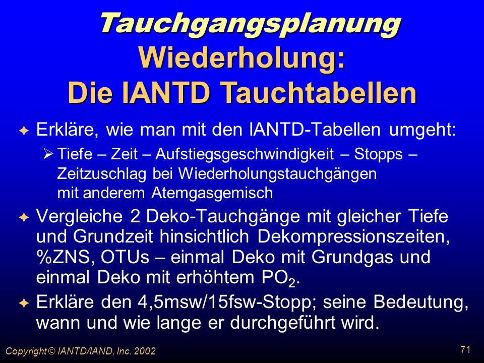 Wiederholung: Die IANTD Tauchtabellen