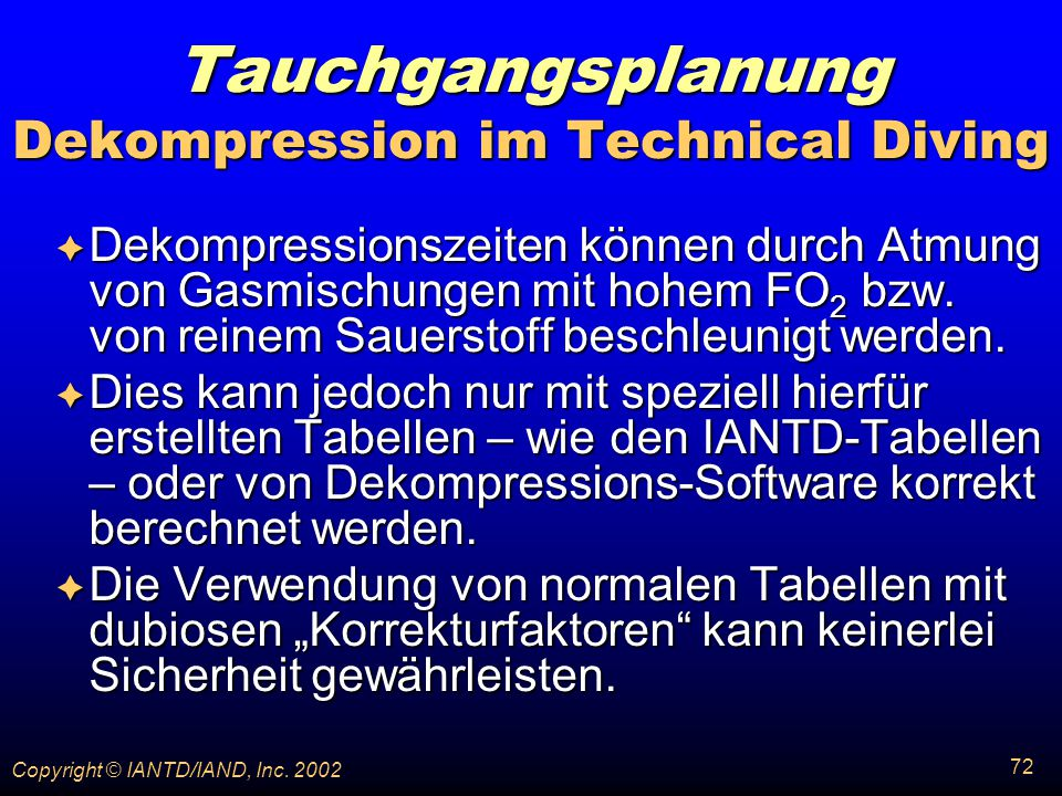 Tauchgangsplanung Dekompression im Technical Diving