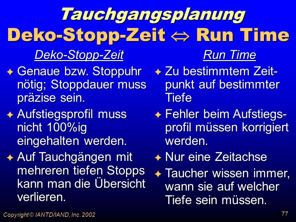 Deko-Stopp-Zeit  Run Time