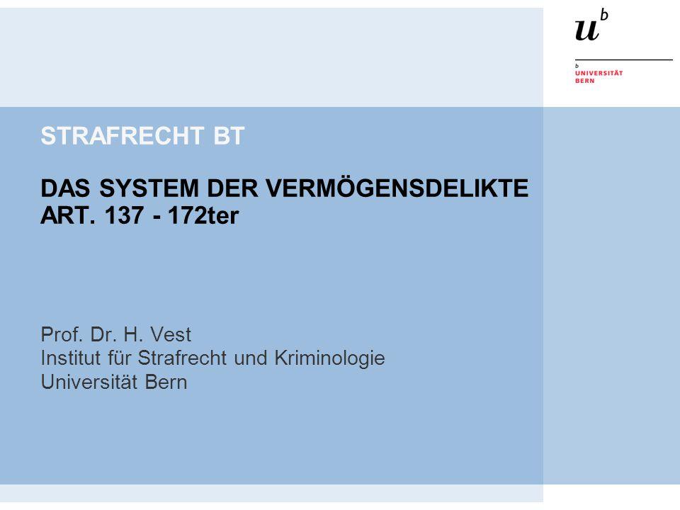 STRAFRECHT BT DAS SYSTEM DER VERMÖGENSDELIKTE ART. 137 - 172ter