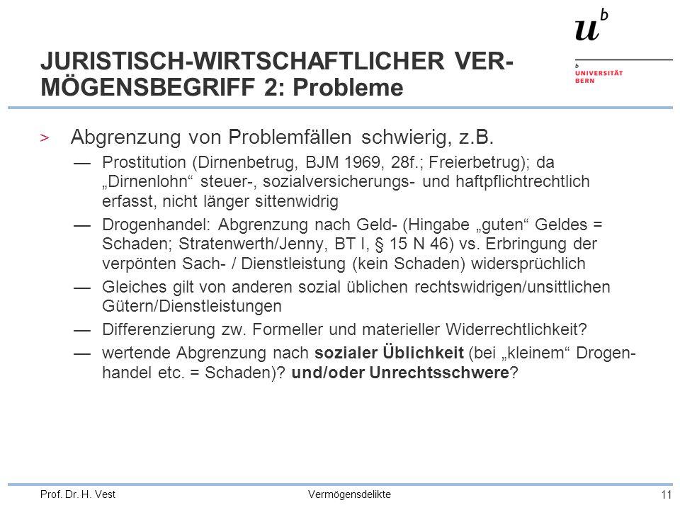 JURISTISCH-WIRTSCHAFTLICHER VER-MÖGENSBEGRIFF 2: Probleme