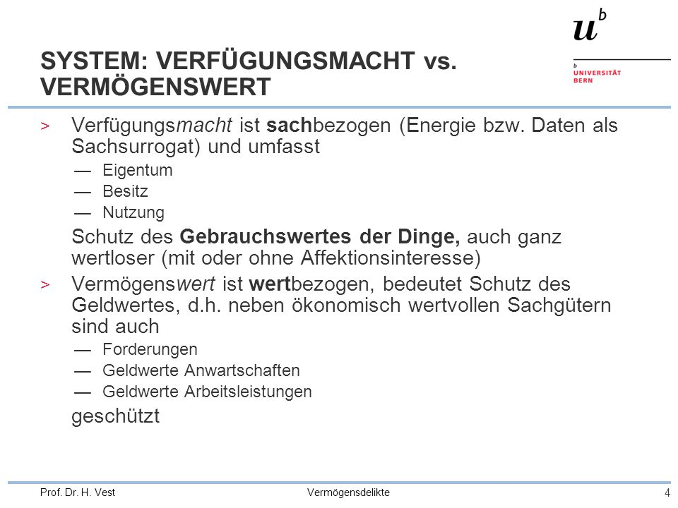 SYSTEM: VERFÜGUNGSMACHT vs. VERMÖGENSWERT
