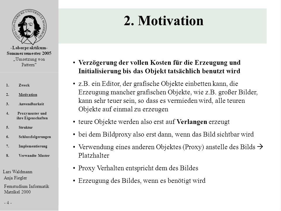 2. Motivation Verzögerung der vollen Kosten für die Erzeugung und Initialisierung bis das Objekt tatsächlich benutzt wird.