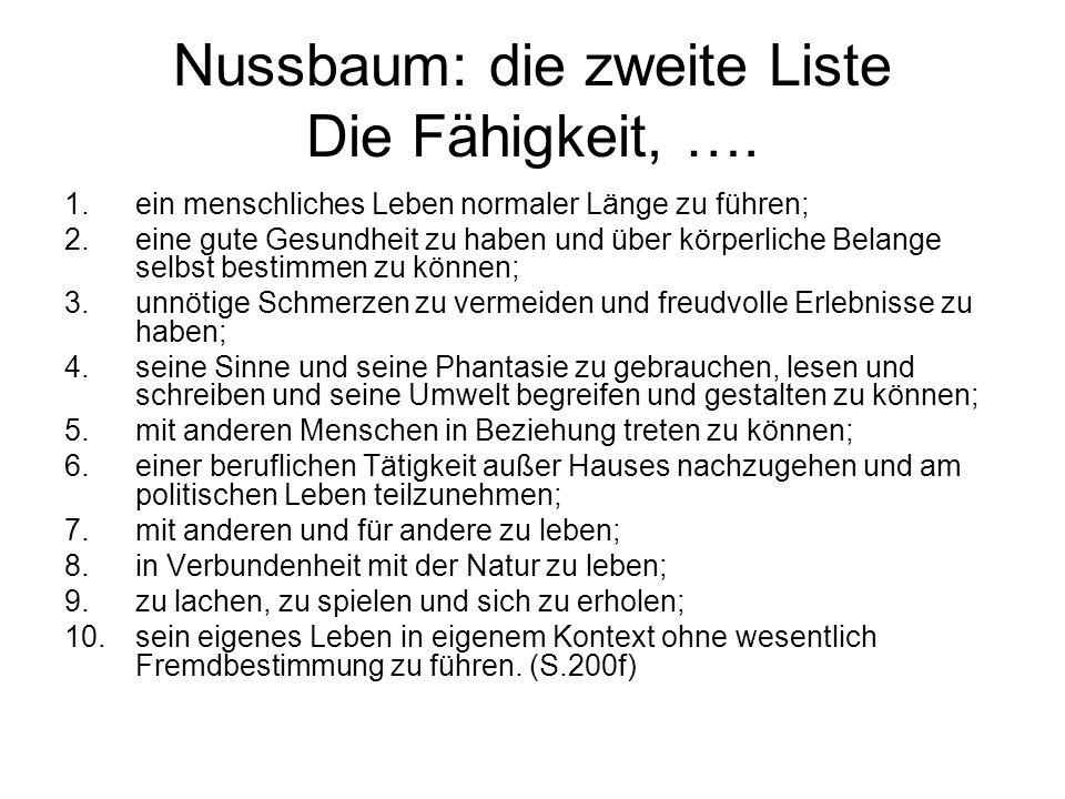Nussbaum: die zweite Liste Die Fähigkeit, ….