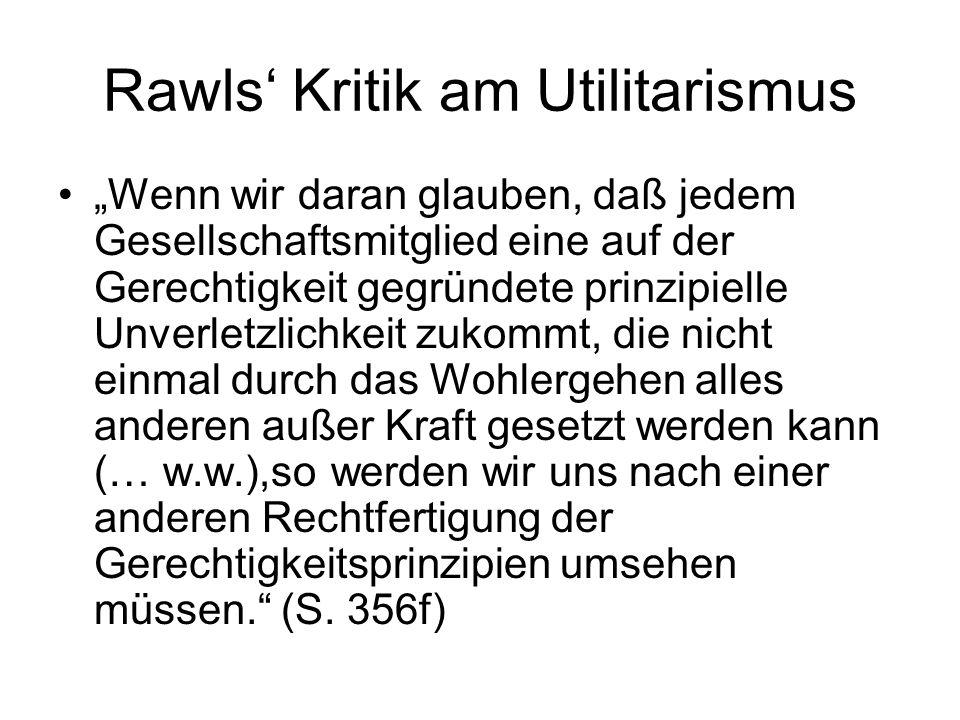 Rawls' Kritik am Utilitarismus