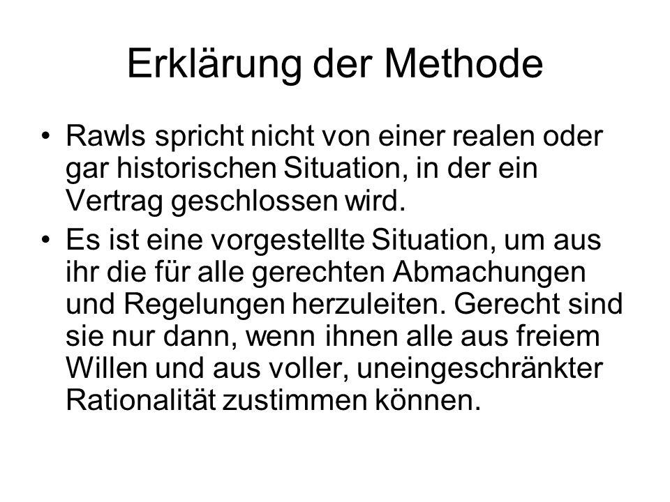Erklärung der Methode Rawls spricht nicht von einer realen oder gar historischen Situation, in der ein Vertrag geschlossen wird.