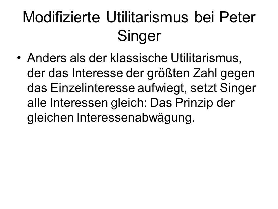 Modifizierte Utilitarismus bei Peter Singer