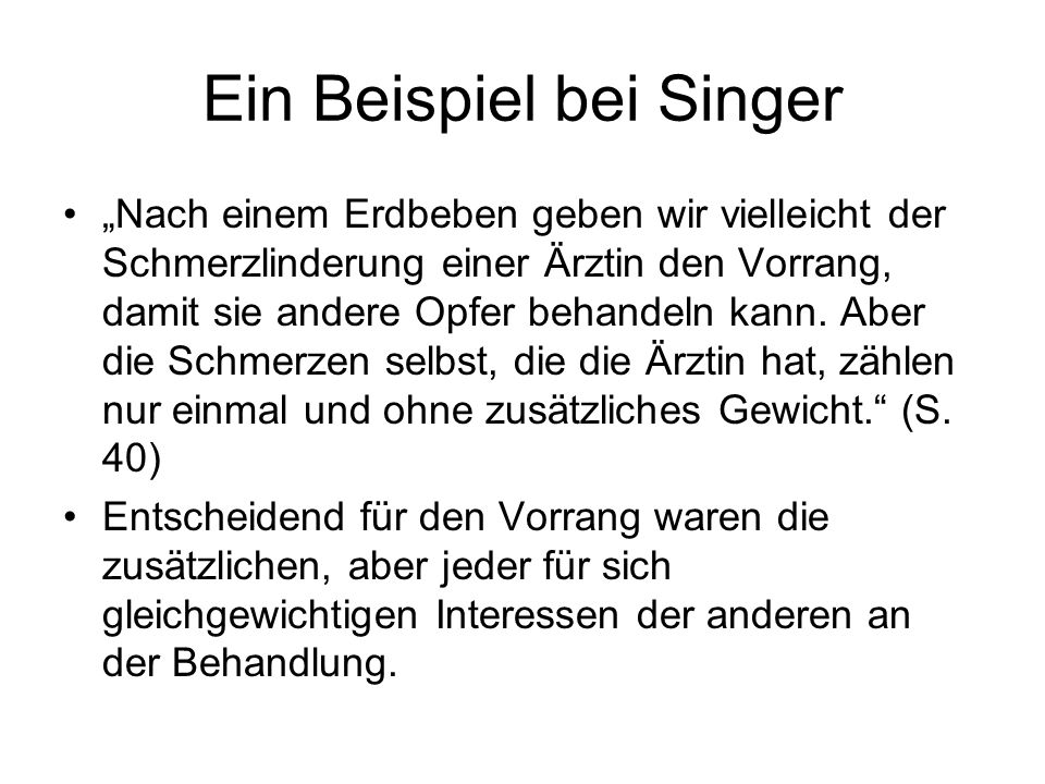 Ein Beispiel bei Singer
