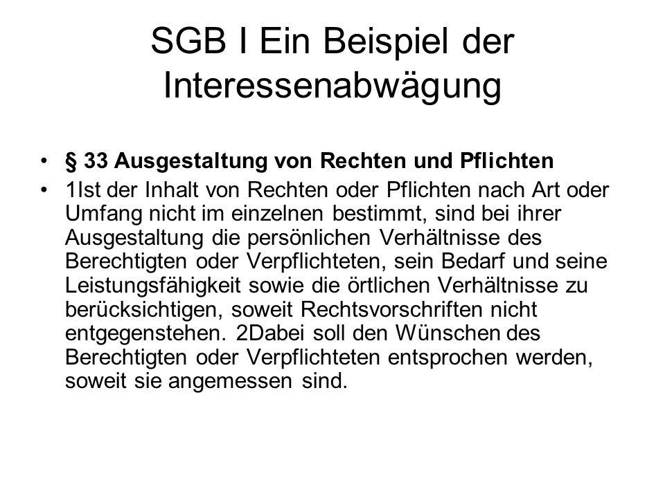 SGB I Ein Beispiel der Interessenabwägung
