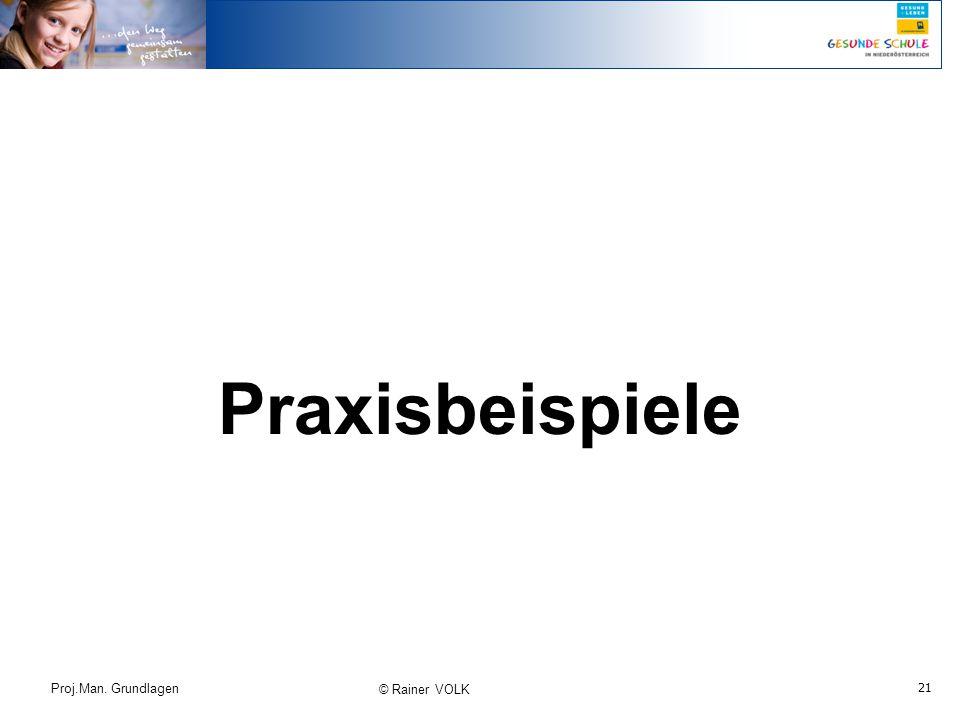 Praxisbeispiele Proj.Man. Grundlagen © Rainer VOLK