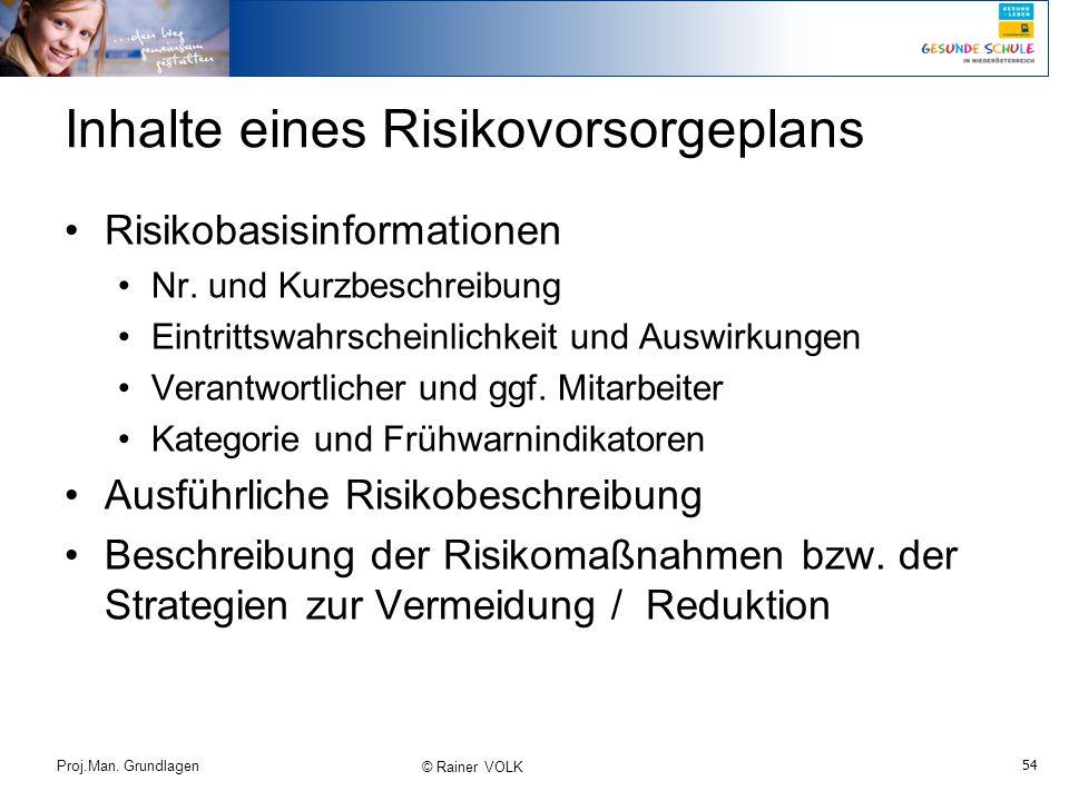 Inhalte eines Risikovorsorgeplans