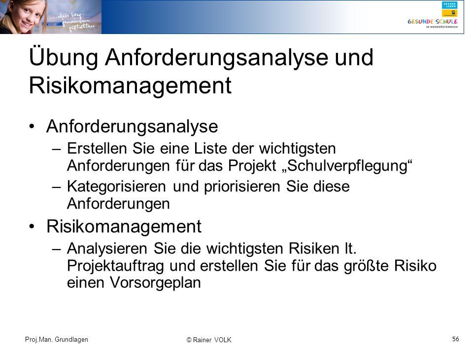 Übung Anforderungsanalyse und Risikomanagement