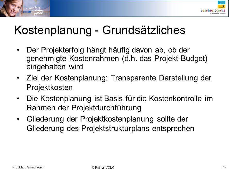 Kostenplanung - Grundsätzliches