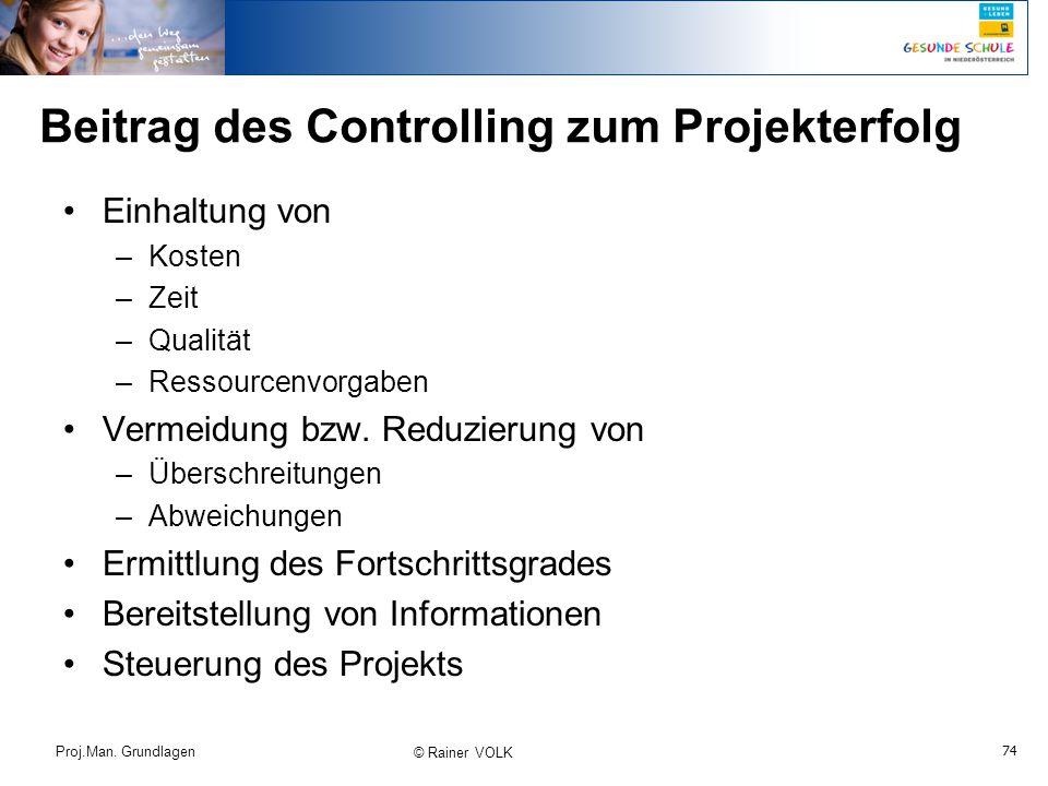 Beitrag des Controlling zum Projekterfolg