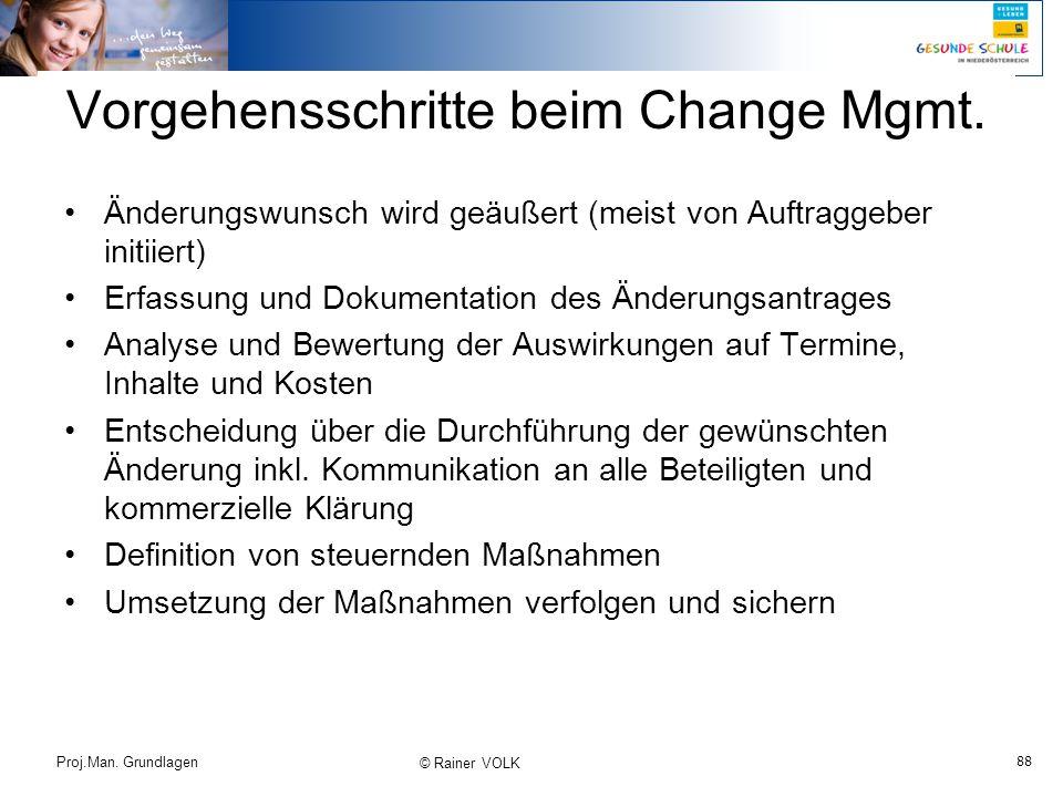 Vorgehensschritte beim Change Mgmt.