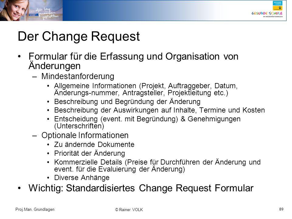 Der Change Request Formular für die Erfassung und Organisation von Änderungen. Mindestanforderung.